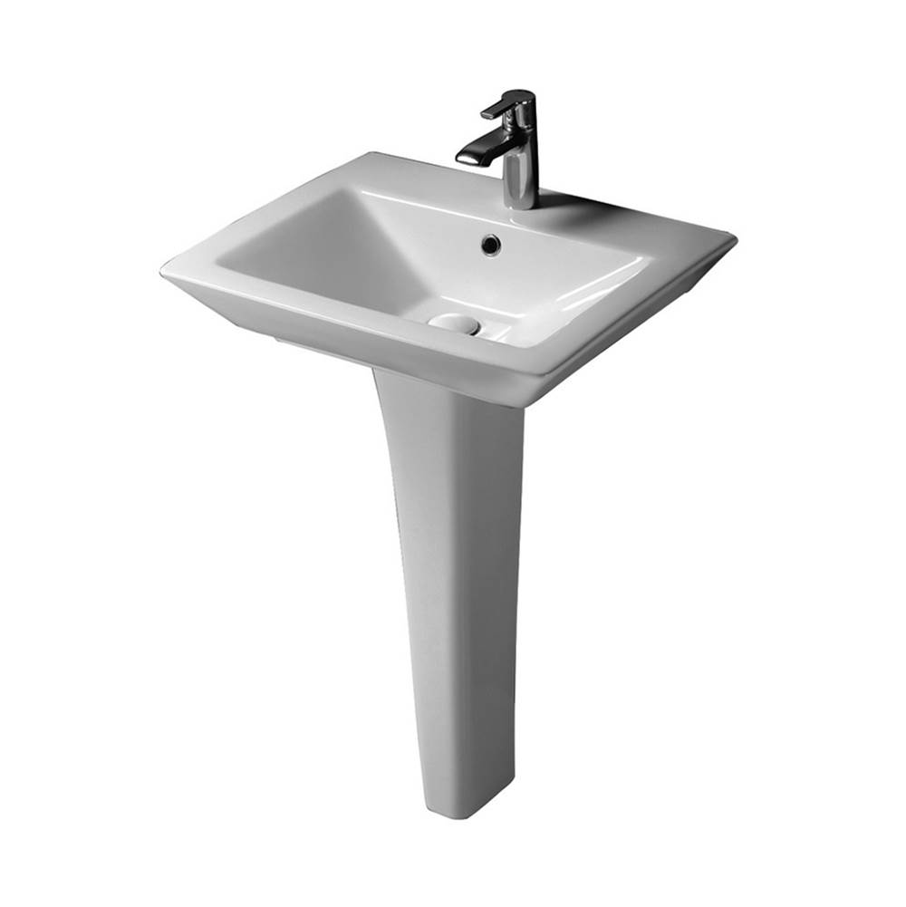 Barclay Opulence 23'' Ped Lav, Rect. Bowl 1-hole, White