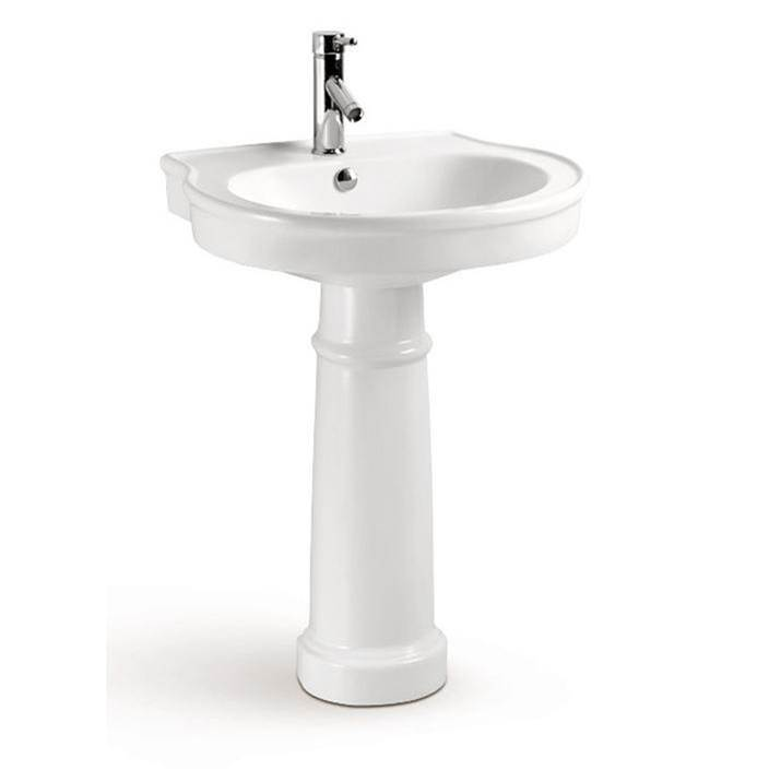 Barclay Brendon Pedestal,6'' Mini W/Overflow in Chrome, White