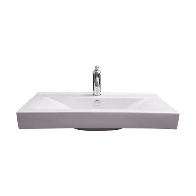 Barclay Twain Rect 32'' Wall Hung, 1 Faucet hole,Overflow, White