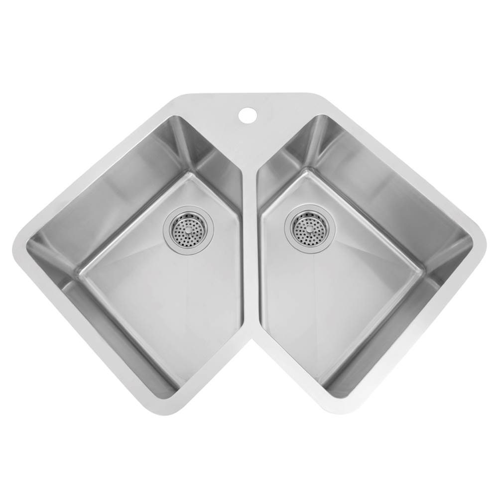 Barclay Montague 33'' SS Double Bowl Corner Undermount Sink