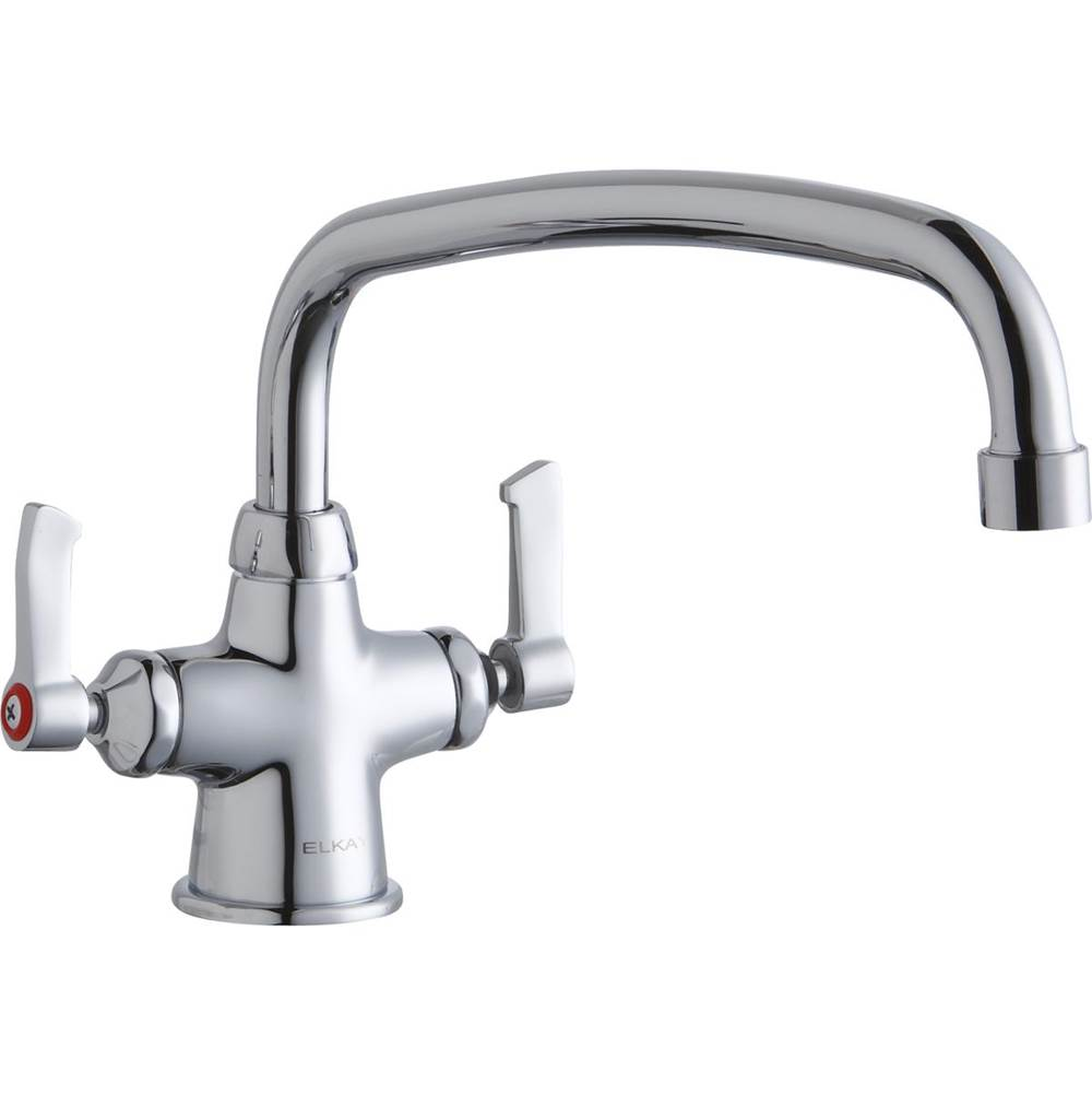 Elkay Elkay Single Hole with Concealed Deck Faucet with 14'' Arc Tube Spout 2'' Lever Handles Chrome