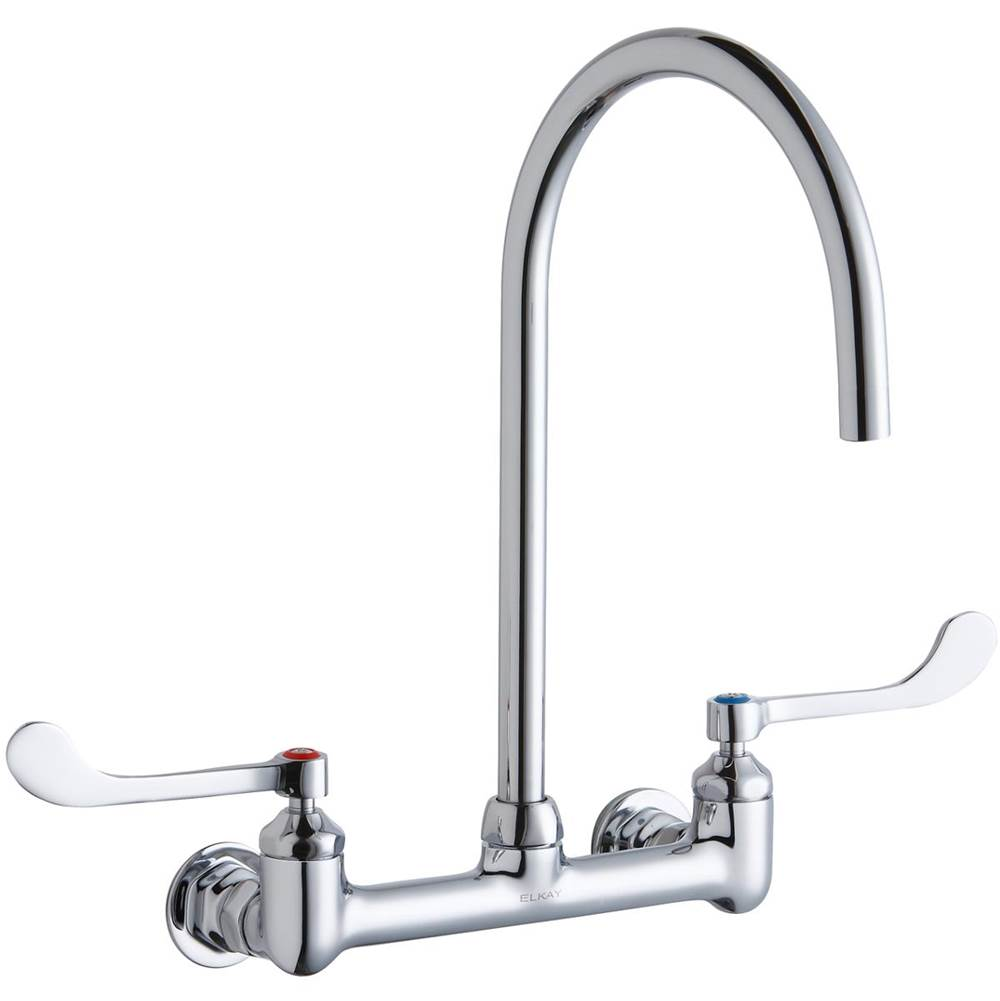 Elkay Elkay 8'' Centerset Deck Mount Laminar Flow Faucet with 8'' Gooseneck Spout 6'' Wristblade Handles 1/2in Offset Inlets