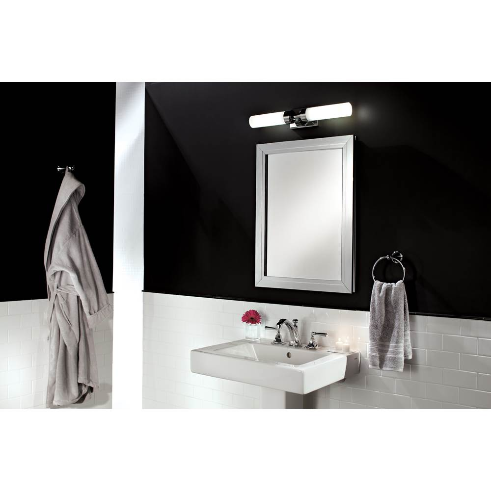 GlassCrafters 24'' x 36'' Satin Chrome Deco Framed Mirrored Medicine Cabinet - 4 Inch Deep