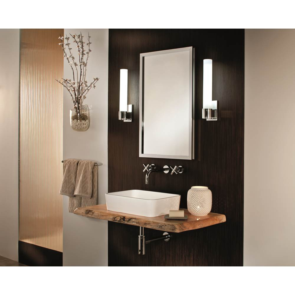 GlassCrafters 16'' x 30'' Satin Chrome Lexington Framed Mirrored Medicine Cabinet - 6 Inch Deep