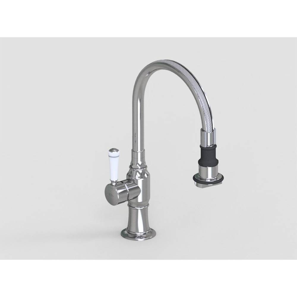 Jaclo Pull-Off Spray Deck Mount Single Hole with 8'' Swivel Spout with Left White Ceramic Contemporary Lever